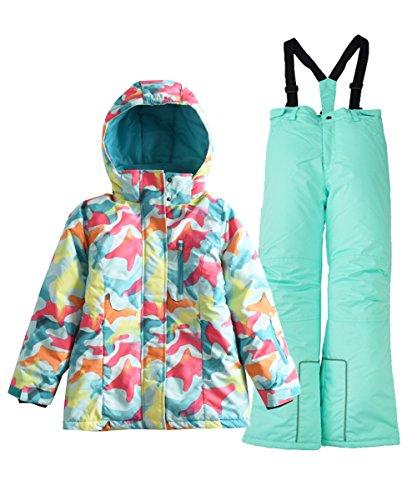 Hiheart Girls' Winter Warm Snowsuit Hooded Snow wear Jacket + Pants 2 PCS Set blue11/12