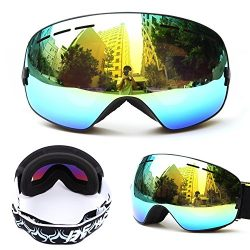 Unisex Ski Goggle, waterproof, anti-fog,Interchangeable Double Lens, Big Spherical Professional  ...