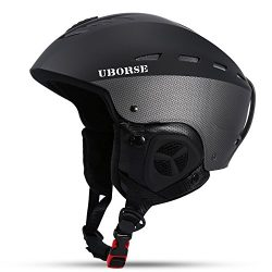 UBORSE Ski Helmet Windproof Lightweight Professional Outdoors Skate Helmet for Adult, Black, M
