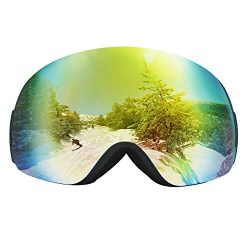 Homitt Ski Goggles, Skiing Goggles with 100% UV400 Coating Anti Fog Mirror Lens, Adjustable Size ...