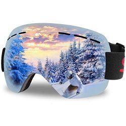 Aolerx Ski Goggles, Ski Snowboard PRO – Frameless Snow Goggles Magnet Spherical Design Win ...