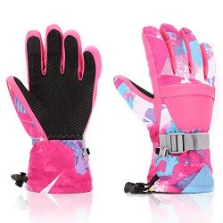 Ski Gloves, Yidomto Waterproof Warmest Winter Snow Gloves for Mens, Womens, Boys, Girls, Kids (P ...