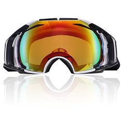 Snowmobile Snowboard Skate Ski Goggles with Detachable Lens, UV Protection Anti Fog Scratch Resi ...