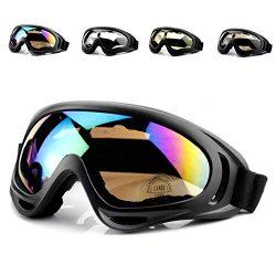 Ski Goggles,NACOLA Motorcycle Goggles Ski Glasses Smoke Lense Sunglasses,Black Frame