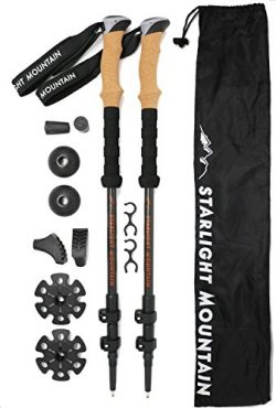 Starlight Mountain Outfitters Trekking Poles – Lightweight Carbon Fiber 6.8 oz ea, Collaps ...