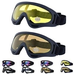 Outgeek Ski Goggles, 2-Pack Skate Glasses with UV 400 Protection Windproof and Dustproof for Sno ...