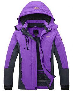Wantdo Women's Waterproof Mountain Jacket Fleece Windproof Ski Jacket  Purple  Large Purpl ...