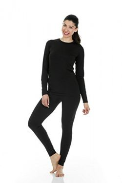 Thermajane Women's Ultra Soft Thermal Underwear Long Johns Set with Fleece Lined (Small, B ...