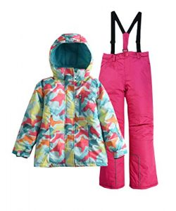 Hiheart Girls' Winter Warm Snowsuit Hooded Snowwear Jacket + Pants 2 Pcs Set Rose 10/11