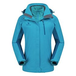 CAMEL CROWN Women's Ski Waterproof Jacket Fleece Inner Breathable Lightweight Rain Coats Hooded  ...