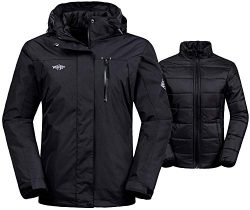 Wantdo Women's 3-in-1 Waterproof Ski Jacket Windproof Puff Liner Winter Coat Black US Small