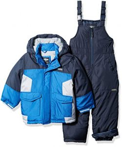 Osh Kosh Boys' Little Ski Jacket and Snowbib Snowsuit Set, deep Navy/Wolf Grey, 7