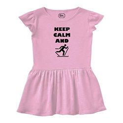 Keep Calm and Ski Cross Country Short Sleeve Taped Neck Girl Cotton Toddler Rib Dress School Clo ...