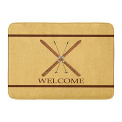 InnoDIY Custom Doormats Cross Country Skis Poles Welcome Home Door Mats 18 x 30 Inches Entrance  ...