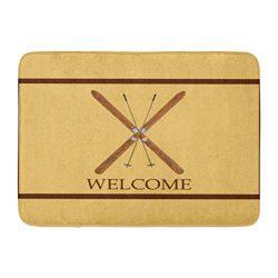 InnoDIY Custom Doormats Cross Country Skis Poles Welcome Home Door Mats 18 x 30 Inches Entrance  ...
