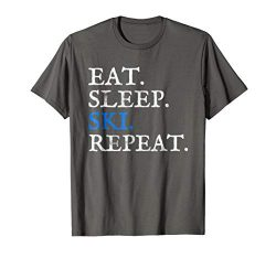 Mens Eat Sleep Ski Repeat Funny Skier Gift Cross Country T-Shirt Large Asphalt