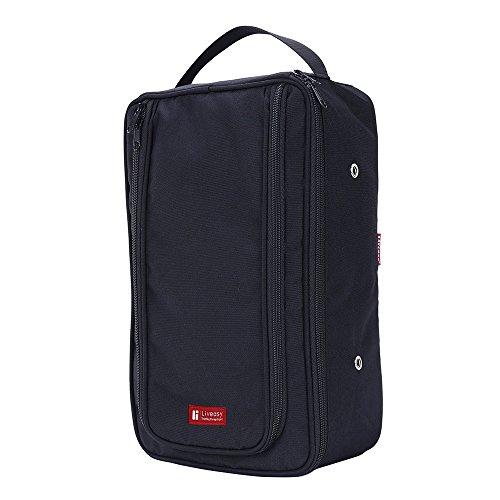 Premium Quality Portable Multi-functional Outdoor Dust-proof Waterproof Zip Travel Shoe Bag (Black)