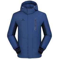CAMEL CROWN Men's Mountain Snow Waterproof Ski Jacket Detachable Hood Windproof Fleece Parka Rai ...