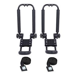 AA-Racks J-Bar Rack Roof Top Mount,Folding Carrier for Your Canoe, SUP and Kayaks on SUV Car Truck