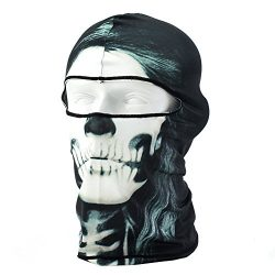 lilyy Ski Mask 3D Printed Skull Hat Outdoor Cycling Motocycle Beanies Bike Lycra Balaclava Full  ...