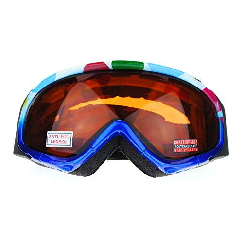 SA106 Anti Fog Lens Pop Color Geometric Pattern Ski Snowboard Goggles Blue Brown