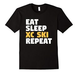 Mens Cross-country Ski Skiing T-Shirt Gift Large Black