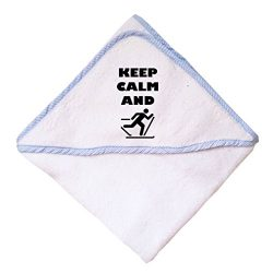 Cute Rascals Keep Calm And Ski Cross Country Cotton Baby Hooded Towel Blue