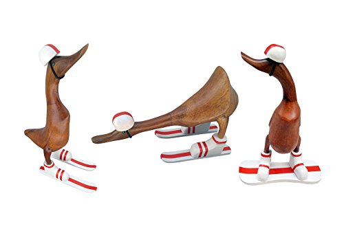 Flying Ski, Snowboard, Cross Country Bamboo Duck Statue Set of 3, Natural Hand Carved Bamboo Roo ...