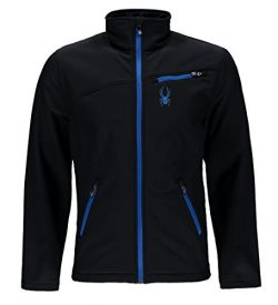 Spyder Men's Softshell Jacket, Black/Stratos Blue, Medium