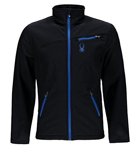 Spyder Men's Softshell Jacket, Black/Stratos Blue, Medium