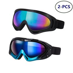 LJDJ Ski Goggles – Pack of 2 – Snowmobile Snowboard Skate Snow Skiing Goggles with 1 ...
