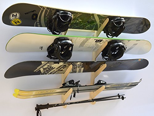 Snowboard Ski Hanging Wall Rack — Holds 4 Boards