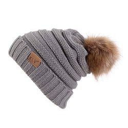Gillberry Women Winter Crochet Hat Wool Knit Beanie Raccoon Warm Cap 6 Colour (Gray)