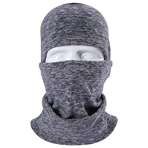 JIUSY Multifunctional Fleece Hood Balaclava Windproof Neck Warmer Face Mask Adjustable with Draw ...