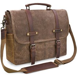 Mens Messenger Bag 15.6 inch Waterproof Vintage Genuine Leather Waxed Canvas Briefcase Large Sat ...