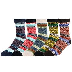 Zmart 5 Pack Men's Color Vintage Warm Wool Fall Winter Quarter Boot Socks