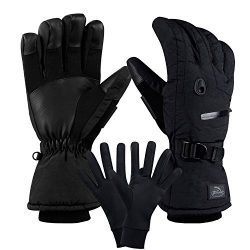 CAMYOD Men Waterproof Skiing Snowboarding Gloves with Zipper Pocket, Air Vent, Separated Liner G ...