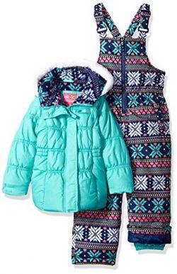 Pink Platinum Girls' Little Printed Super Snowsuit, Seafoam, 4