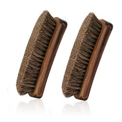 Horsehair Shoe Brush, IGIYI Brown Horse Hair Shoe Shine Brushes, Horse Bristle Cleaning & Po ...