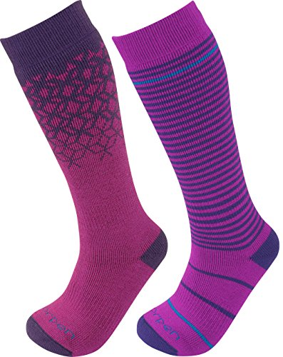 Lorpen T2 Kids Merino Ski Socks – 2 Pack, Berry, Medium