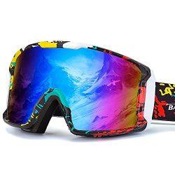 BATFOX Ski Goggles Safe Glasses Anti-Fog REVO PC Lens Snowboard Snow Skiing Goggles Shatterproof ...
