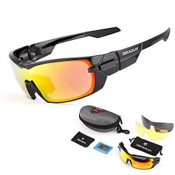 GIEADUN Sports Sunglasses Polarized UV400 Protection Cycling Glasses With 3 Interchangeable Lens ...
