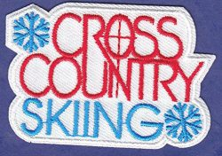 CROSS COUNTRY SKIING Iron On Embroidered Patch-Ski, Winter Sports, Words, Snow